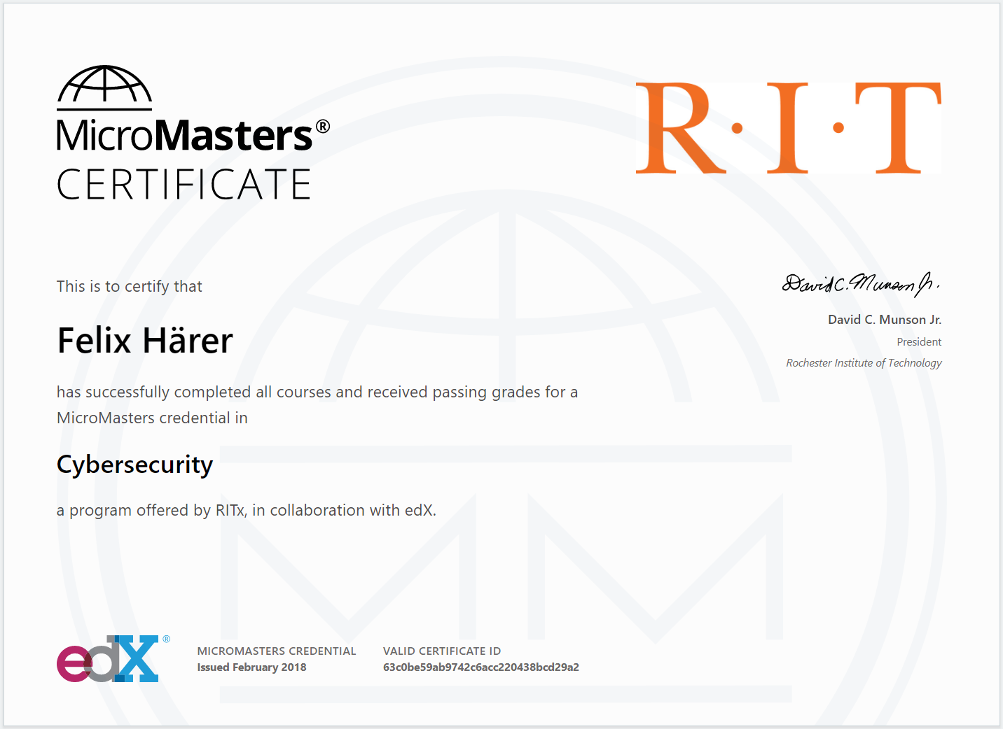 RITx Cybersecurity MicroMasters Degree